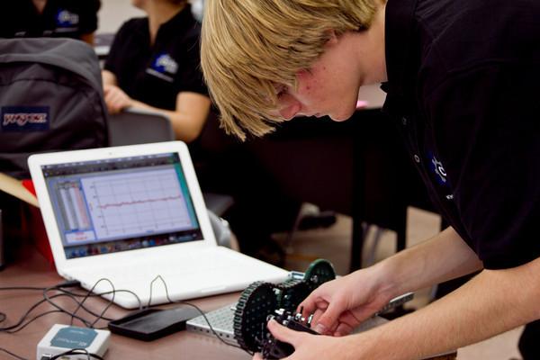 student working hard